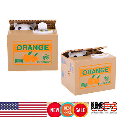 Cute Automatic Stealing Coin Cat Kitty Piggy Bank Saving Box Sweet Great Gift US