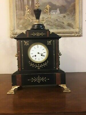Superb French  Slate And Marble 8 Day Chiming Mantle Clock With Garnitures