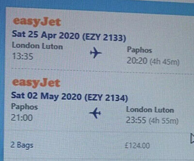 Flights to Paphos Cyprus x 2 Inc Luggage From London Luton Airport