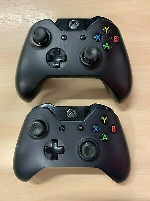 2 x Microsoft Xbox One | XB1 - Official Black Wireless Controllers *Faulty*