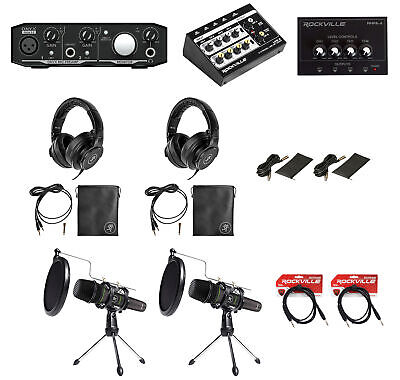 Mackie 2-Person Podcast Podcasting Recording Kit w/EM-89D Mics+Stands+Headphones