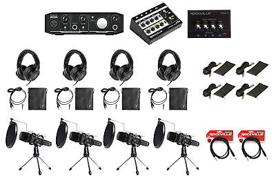 Mackie 4-Person Podcast Podcasting Recording Kit w/EM-89D Mics+Stands+Headphones