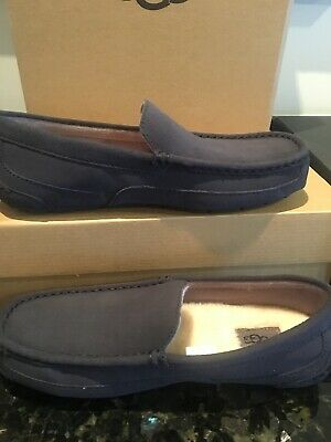 UGG Australia Alder Leather Suede Navy Men's Slippers Moccasins Size 9 New w Box