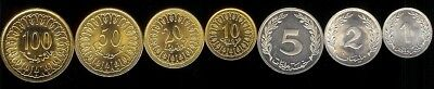 TUNISIA 1-100 MILLIM 1960-07 7 pc. COIN SET UNC