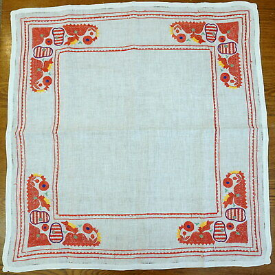 """34"""" Antique German Hand-Embroidered Cotton TABLE CLOTH Roosters Red White Easter"""