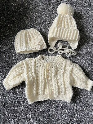 Baby (Unisex) Knitted Pale Yellow Cardigan & 2 Hats Up To 1 Month Never Worn