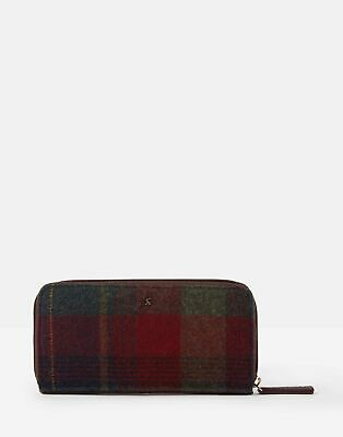 Joules Womens Fairford Tweed Zip Round Purse - RED MULTI CHECK in One Size