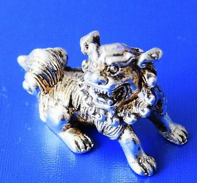 Collectable Handwork Old Miao Silver Carve Royal Family Lion Special Rare Statue
