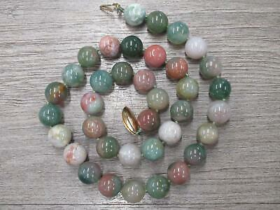 14k Yellow Gold Jewelry Cloudy Pink Green White Stone Bead Necklace 17""