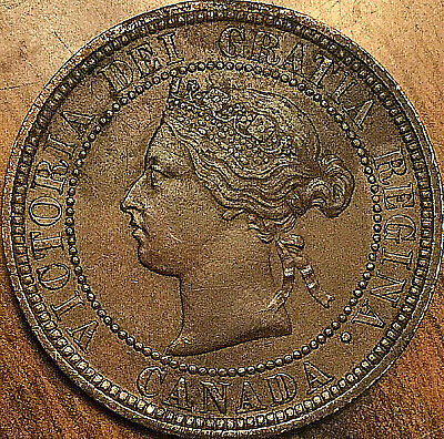 1876H CANADA LARGE CENT COIN LARGE 1 CENT PENNY - Excellent example!