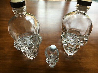 Crystal Head Vodka 750ml Skull Bottles Lot of 2 empty w/ boxes, bonus bottle