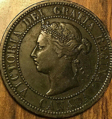 1882H CANADA LARGE CENT COIN LARGE 1 CENT PENNY - Obverse #2