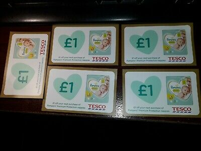 5 X £1 Pampers premium protection nappies coupons for use at Tesco only