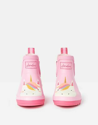 Joules Girls Wellibobs Boots Ankle Wellies - PINK UNICORN Size Childrens 10