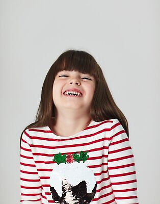 Joules Girls Festive Harbour Luxe   Embellished Top  -  Size 9yr-10yr