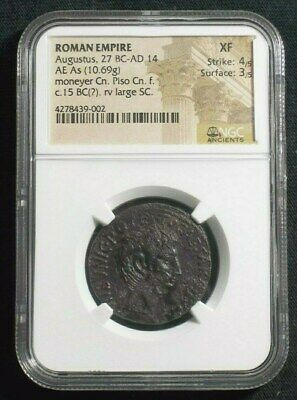 Roman AE As of Emperor Augustus, 15 BC Moneyer Pisco NGC XF 9002