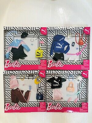 Barbie 4 Deluxe Puma Fashion Outfit Packs Hoodie Jumper Workout Doll Clothes New