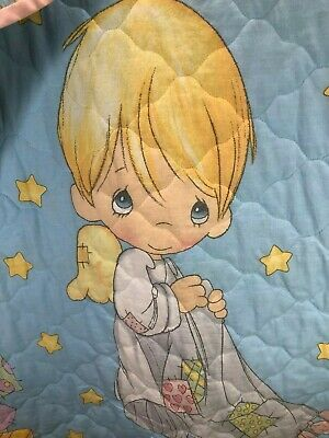 Vintage Precious Moments Angel Blankie Lovey Boy Baby Blue Crib Quilt Comforter