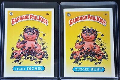 1985 Garbage Pail Kids Series 1 ITCHY RITCHIE 11a & BUGGED BERT 11b Matte Back
