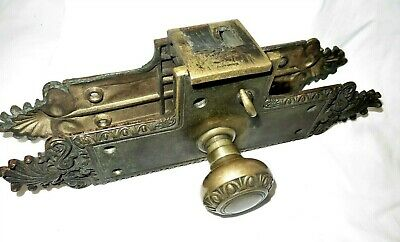 Large Heavy Antique Pat. 1899 Brass Ornate Entry Door Knob Set