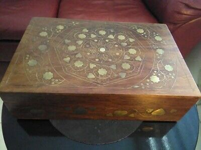 Vintage Gold Inlaid Brass Ornate Wooden Lined Jewelry Box