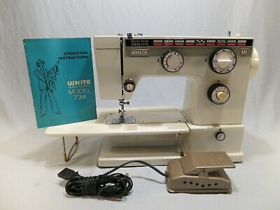 Vintage White 734 Zig Zag Free Arm Quilting Sewing Machine, Cleaned & Tested