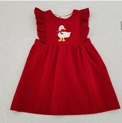 Vintage Toddler Girls Red Corduroy Dress Pinafore Childrens Clothes Goose