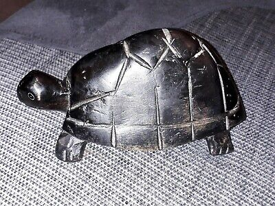 Antique African Wooden Hand Carved Tortoise Carving Ebony Hard Wood