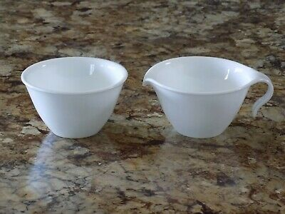 Corelle Winter Frost White Hook Handle Creamer and Sugar Bowl