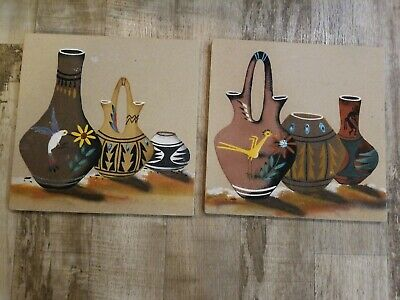 2 VTG New Mexico Sand Art Painting Signed by Nancy Price Navajo Kokopelli Vase