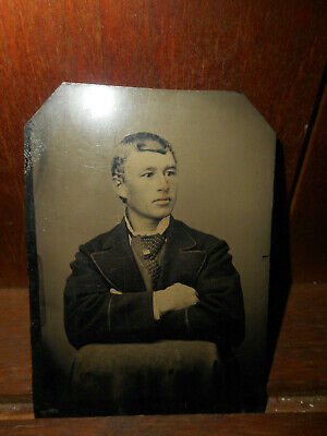 Antique Tintype Photo, Handsome Young Man, Cravat Tie, Blond, Tinted, Bangs