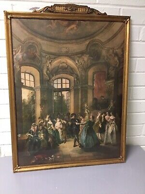 Beautiful Antique Vtg French Provencial Gold Gilt Gesso Framed Victorian Picture