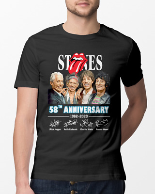 The Rolling Stones 58th Anniversary 1962-2020 Signature Men Black Tshirt