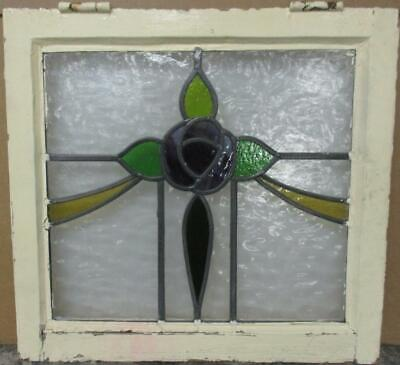 "OLD ENGLISH LEADED STAINED GLASS WINDOW Gorgeous Mackintosh Rose 20.5"" x 19.25"""