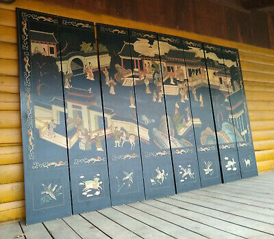Vintage Oriental Asian 8 Panel Black  Two Sided Screen Room Divider 12' Long