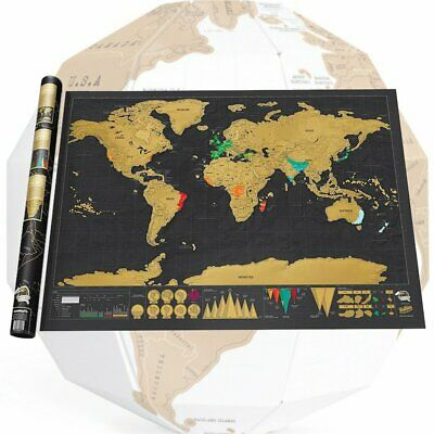 Luxury Journal Log Gift Travel Edition Scratch Off World Map Poster Durable F@