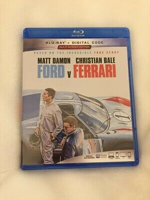 Ford vs Ferrari (Blu-ray Disc, 2019) with Damon & Bale, No Digital Code LIKE NEW
