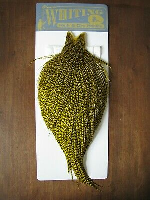 Fly Tying Whiting Rooster Cape Grizzly dyed Yellow #F