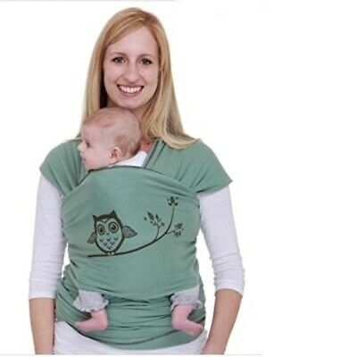 Moby Wrap Classic Baby Carrier Owl Design Sage Green Cotton 8-35 lbs Hands Free