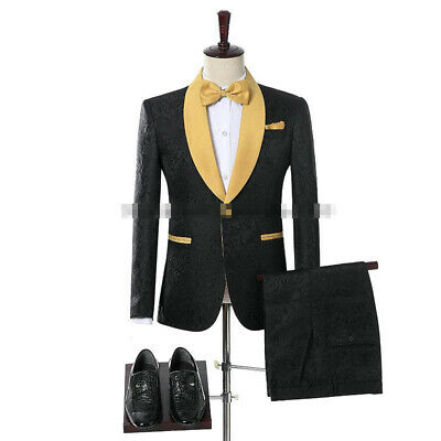 Black Men's Jacquard Yellow Shawl Lapel Wedding Groom Dinner Party Tailored Fit