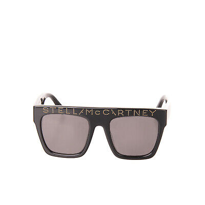 STELLA MCCARTNEY Square Sunglasses Glossy Frame Debossed Logo Single Bridge