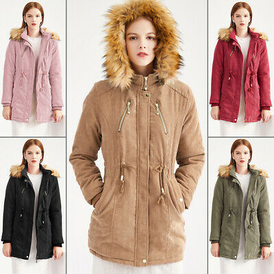 Luxury Women Hooded Parka Warm Casual Fleece Fur Warm  Zip Up Peacoat Outwear