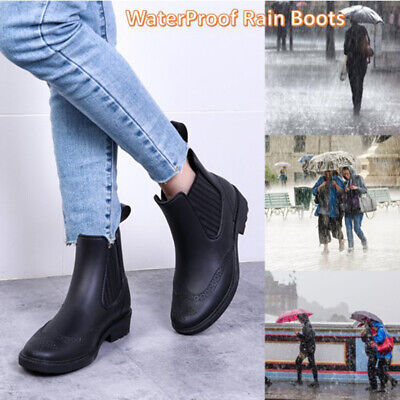 Womens Chelsea Ankle Boots Waterproof Wellington Rain Boots Ladies Casual Shoes