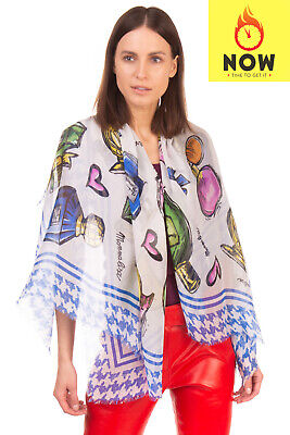 MONNALISA Shawl / Wrap Scarf Silk Blend Printed Frayed Edges Rectangle Shape