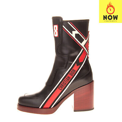 RRP €1825 CHRISTIAN DIOR DIORALLY Leather Ankle Boots EU38 UK5 US8 Made in Italy