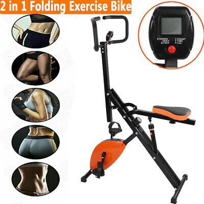 Foldable 3 in 1 Stationary Upright Folding Exercise Bike Workout Indoor Cycling