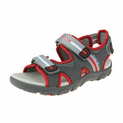 Geox Strada Boys Dark Grey-Red Sandal size eu kids children hook loop
