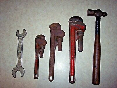 "Lot 5 VTG Tools. Ridgid 8"",10"",12"" PIPE WRENCHES & HY-BAR OPEN WRENCH 7/8,25/32"