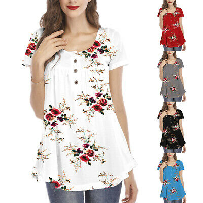 Womens V Neck Short Sleeve Tops Floral Button Shirts Summer Casual Loose Blouses