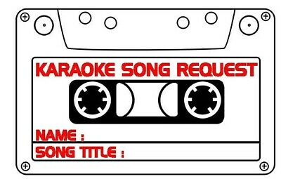 Karaoke Song Requests -1200 SLIPS -  SAME DAY POST - FREE NEXT DAY DELIVERY
